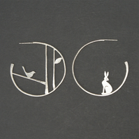 Edge of the woods statement earrings - hare and bird
