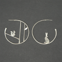 Edge of the woods statement earrings - hare and squirrel