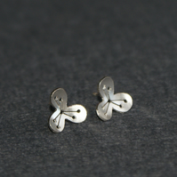 Retro alstroemeria silver stud earrings