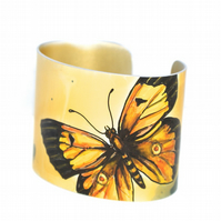Clouded yellow butterfly cuff - hand painted