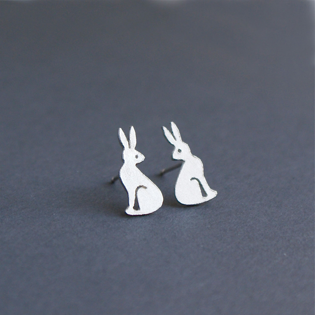 Edge of the woods hare stud earrings