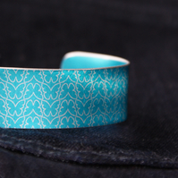 Geometric butterfly print cuff bracelet turquoise