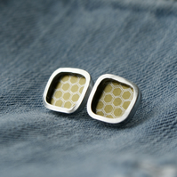 Golden honeycomb studs - silver square