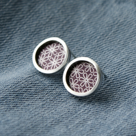 Plum flower pattern studs - silver circle