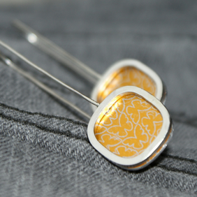 Yellow butterfly square earrings - sterling silver