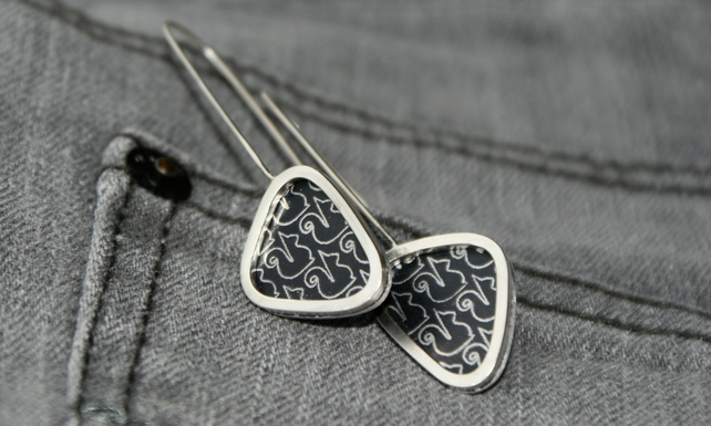 Black squirrel triangle earrings - sterling silver