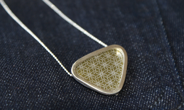 Silver triangle necklace - flower pattern