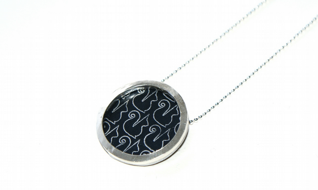 Silver and black circle necklace - squirrel pattern