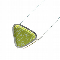 Silver and lime triangle necklace - spring buds pattern