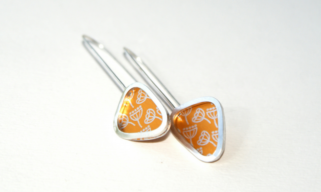 Golden seed head triangle earrings - sterling silver & aluminium