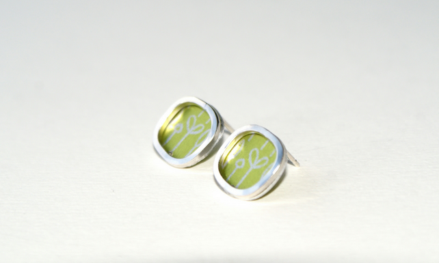 Lime and silver square studs - spring buds pattern