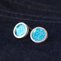 Turquoise butterfly pattern studs - silver circle