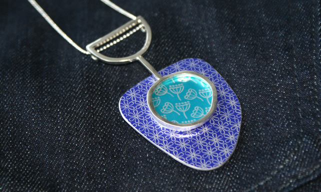 Silver, purple and turquoise statement pendant - flower and seed head pattern