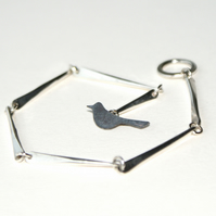 Handmade silver branch bracelet with bird toggle clasp