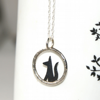 Tiny black fox necklace