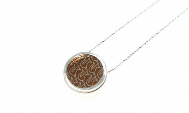 Silver and bronze circle necklace - fox pattern