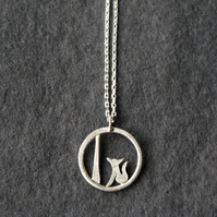 Tiny edge of the woods fox necklace