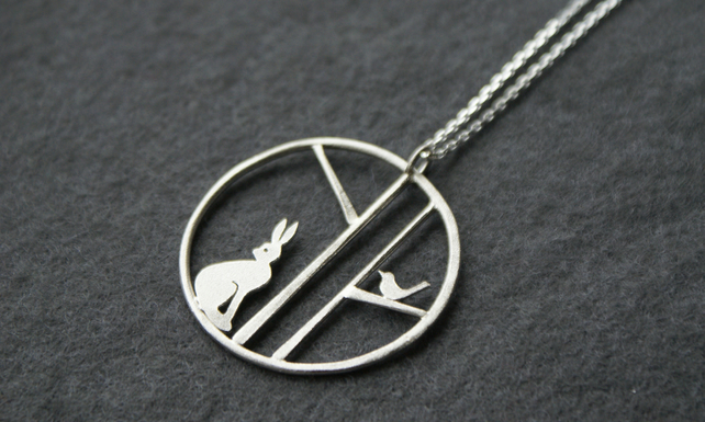 Edge of the woods hare and bird necklace