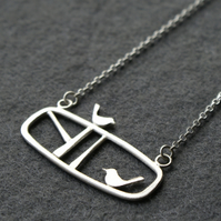 Edge of the woods silver landscape bird necklace