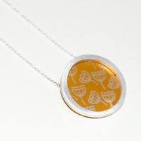 Silver and gold circle necklace - seed head pattern
