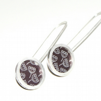 Plum and silver seed head pattern drop earrings