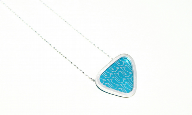 Silver and turquoise triangle necklace - fox pattern