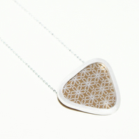 Silver and bronze triangle necklace - flower pattern