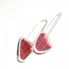 Red butterfly triangle earrings - sterling silver & aluminium