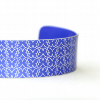 Geo nature butterfly patterned aluminium cuff bracelet purple