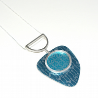 Silver, blue and turquoise statement pendant - butterfly and spring buds pattern
