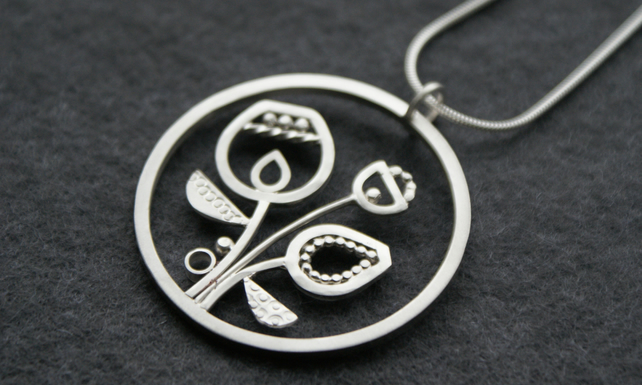 Seeds and pods silver pendant