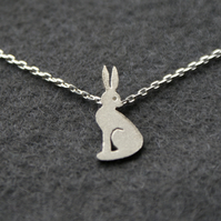 Edge of the woods tiny hare or rabbit necklace