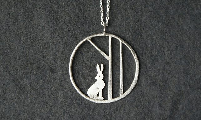Edge of the woods silver hare necklace