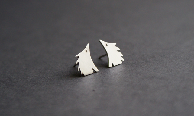 Little hedgehog silver studs