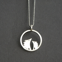 Silver hedgehog circle necklace