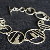 Edge of the woods silver statement bracelet - owl, hare, fox