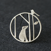 Edge of the woods badger brooch