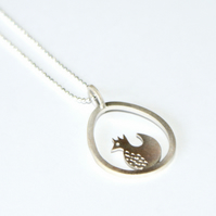 Silver chicken and egg necklace