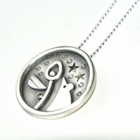 SALE! Mouse and pod silver pendant