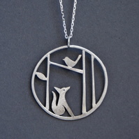 Edge of the woods fox and bird necklace