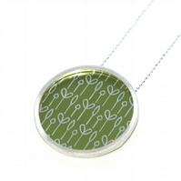 Silver and olive green circle large necklace - spring buds pattern