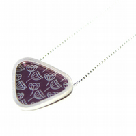 Silver and plum triangle necklace - seed heads pattern