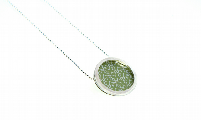 Silver and olive circle necklace - butterfly pattern