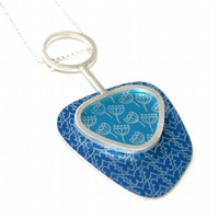 Butterflies and seed heads abstract pendant - Blue and turquoise
