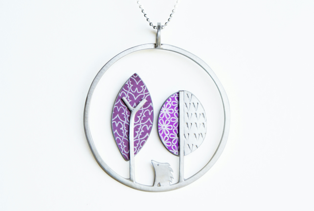 Hedgehog and trees necklace