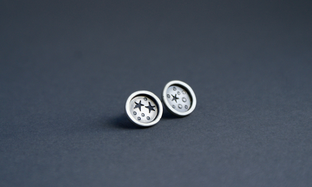 Silver star mis-matched studs