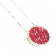 Silver and red circle necklace - spring buds pattern