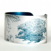 Hedgehog and the snail aluminium cuff narrow