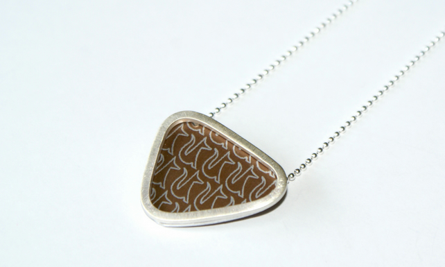 Bronze and silver triangle necklace - fox pattern
