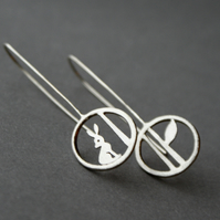 Edge of the woods silver hare drop earrings